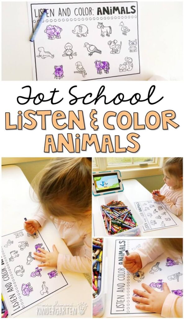This listen and color animal activity was such a fun fine motor practice activity. Great for a five senses theme in tot school, preschool, or even kindergarten!