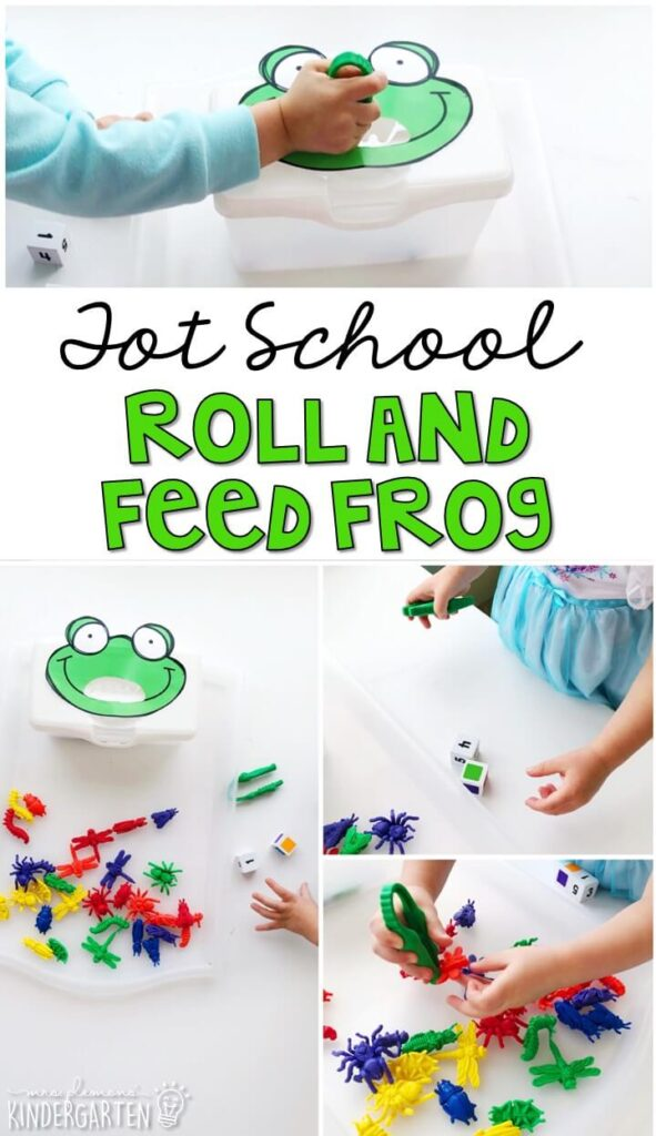 We LOVE this roll and feed frog activity. Great for color and number recognition with a frog theme in tot school, preschool, or even kindergarten!