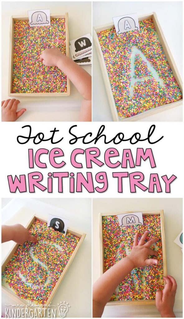 We LOVE this sprinkle ice cream themed writing tray. Great for letter writing and recognition with an ice cream theme in tot school, preschool, or even kindergarten!