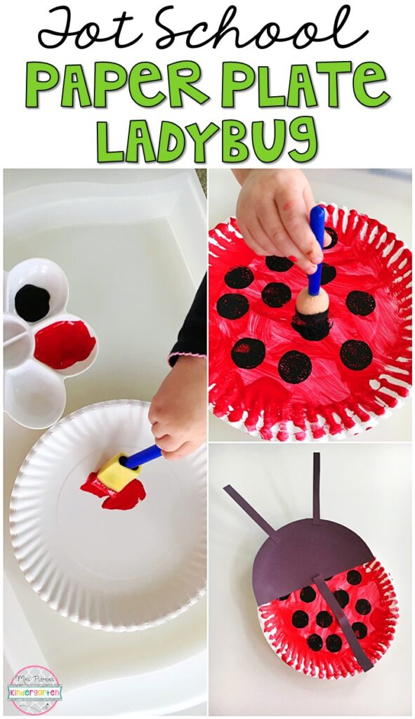 These paper plate ladybugs turned out so cute and incorporated lots of fine motor practice. Great for an insect theme in tot school, preschool, or even kindergarten!