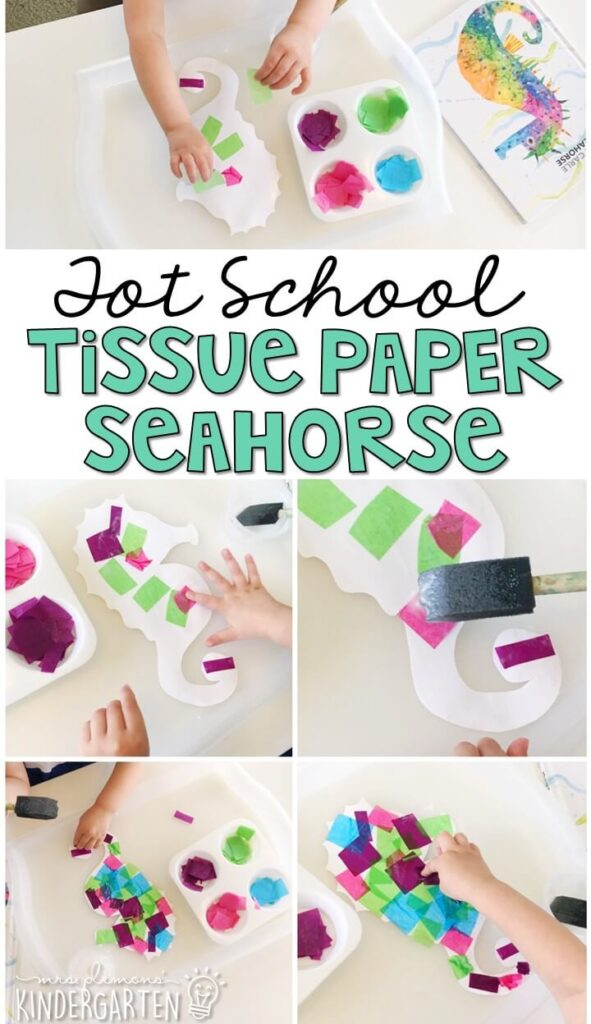 This tissue paper seahorse turned out so cute and was a fun and easy way to get our fine motor practice in with an ocean theme. Great for tot school, preschool, or even kindergarten!