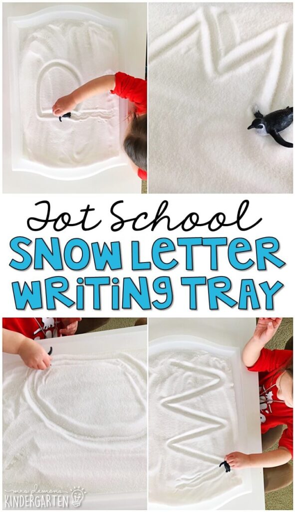 We LOVE sliding penguins in this snow letter writing tray for fine motor practice with a penguin theme. Great for winter in tot school, preschool, or even kindergarten!
