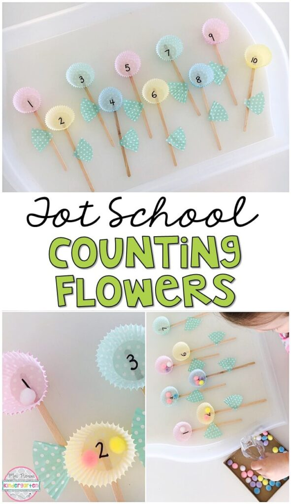 We LOVE practicing counting and number identification with these counting flowers. Perfect for fine motor practice with a plant theme. Great for tot school, preschool, or even kindergarten!