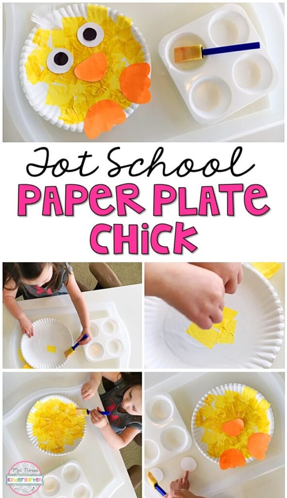 These paper plate chick projects turned out so cute and incorporated lots of fine motor practice. Great for spring in tot school, preschool, or even kindergarten!