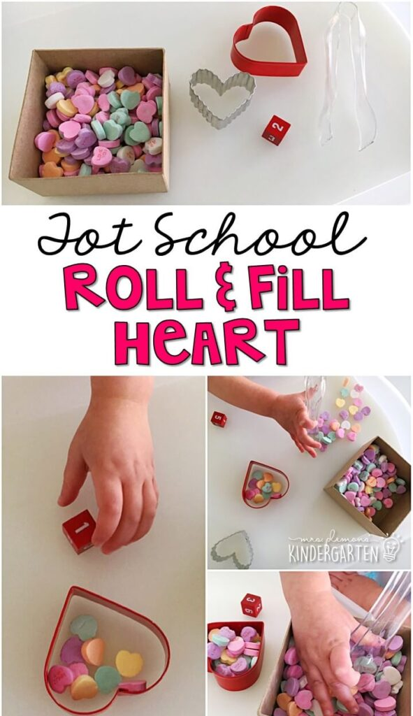 We LOVE this roll and fill heart game. It was a fun way to practice counting, number recognition and fine motor skills with a valentine's theme. Great for tot school, preschool, or even kindergarten!