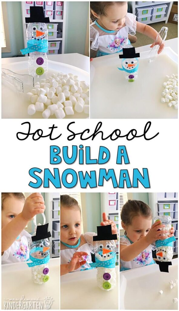We LOVE build a snowman activity for fine motor practice with a winter theme. Great for tot school, preschool, or even kindergarten!