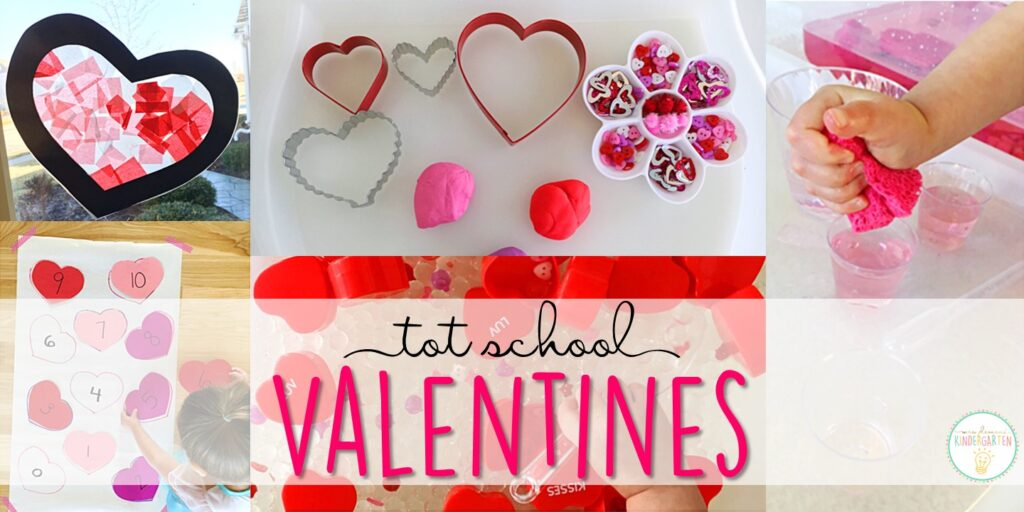 Tons of valentines themed activities and ideas. Weekly plan includes books, literacy, math, science, art, sensory bins, and more! Perfect for tot school, preschool, or kindergarten.