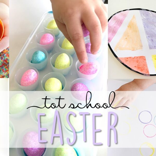 Tons of Easter themed activities and ideas. Weekly plan includes books, literacy, math, science, art, sensory bins, and more! Perfect for tot school, preschool, or kindergarten.