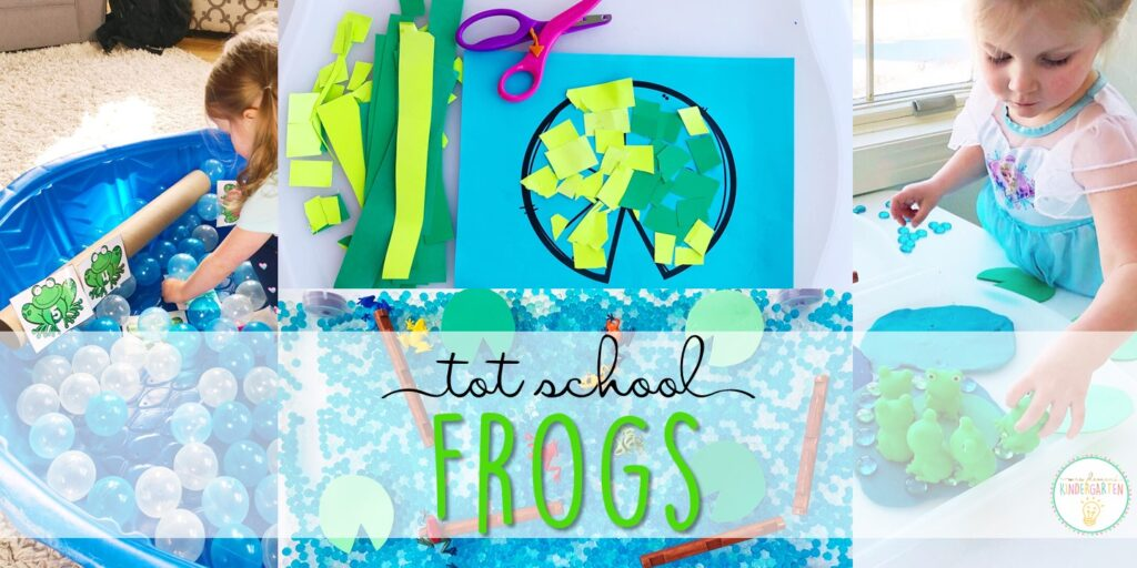 Tons of frog themed activities and ideas. Weekly plan includes books, literacy, math, science, art, sensory bins, and more! Perfect for tot school, preschool, or kindergarten.