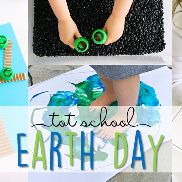 Tons of Earth Day themed activities and ideas. Weekly plan includes books, literacy, math, science, art, sensory bins, and more! Perfect for tot school, preschool, or kindergarten.