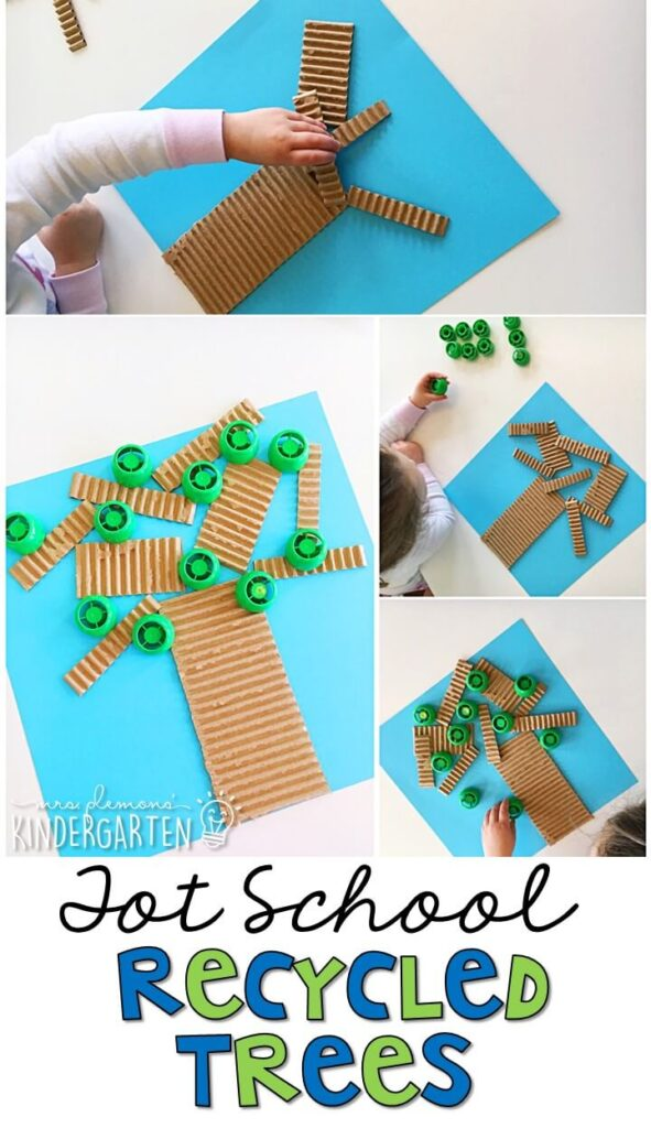 These recycled trees are one of my favorite craft projects for Earth Day and incorporate lots of fine motor practice. Great for spring in tot school, preschool, or even kindergarten!