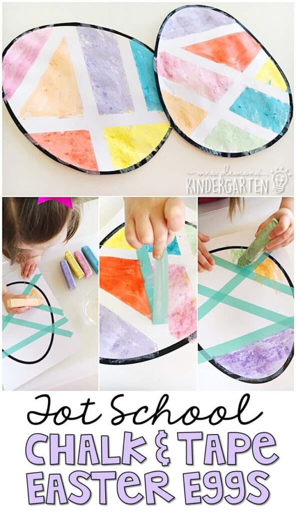 These chalk paint easter eggs turned out so cute and incorporated lots of fine motor practice. Great for Easter in tot school, preschool, or even kindergarten!