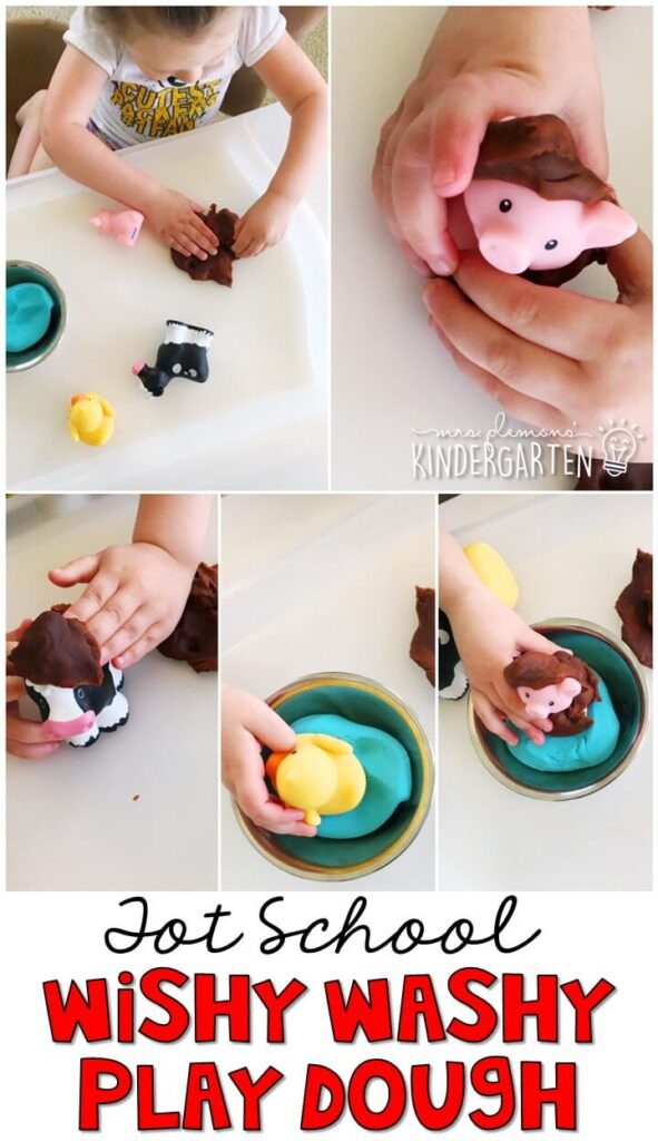 We LOVE this wishy washy play dough activity for fine motor practice. Great for a farm theme in tot school, preschool, or even kindergarten!