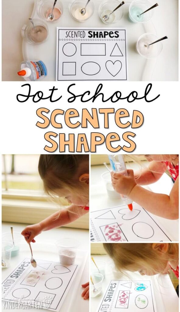 These scented shapes were a really fun engaging five senses fine motor activity. Great for tot school, preschool, or even kindergarten!