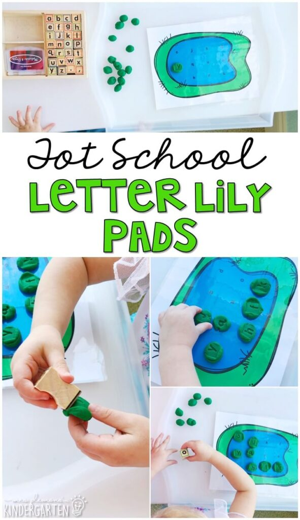 This letter lily pad activity is a fun way to practice letters and get our fine motor practice in with a frog theme. Great for tot school, preschool, or even kindergarten!