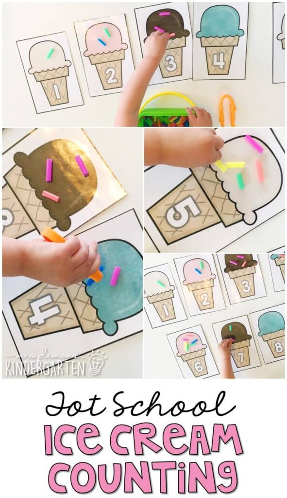 This ice cream counting activity is a fun way to practice number identification, counting and fine motor skills with an ice cream theme. Great for tot school, preschool, or even kindergarten!