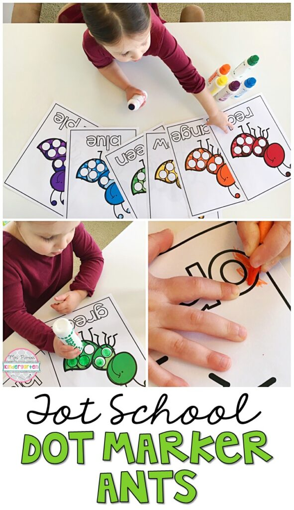 We LOVE using dot markers for fine motor practice so these dot marker ants were a perfect activity for our insect theme. We worked on one to one correspondence and color recognition too. Great for tot school, preschool, or even kindergarten!