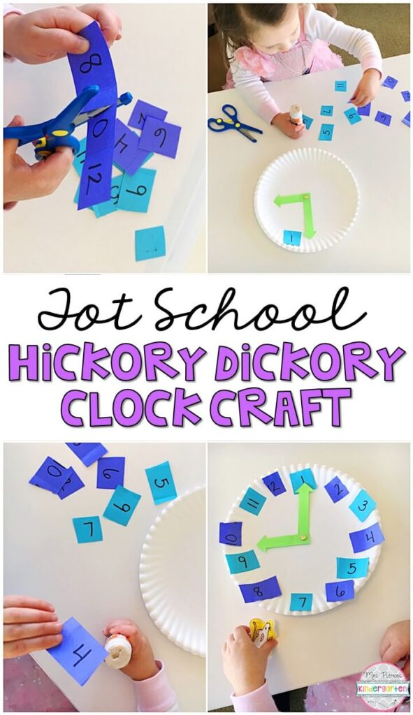 After reading Hickory Dickory Dock, we made our own clocks to work on fine motor skills, number writing, number recognition, and beginning telling time. Great for a nursery rhyme theme in tot school, preschool, or even kindergarten!