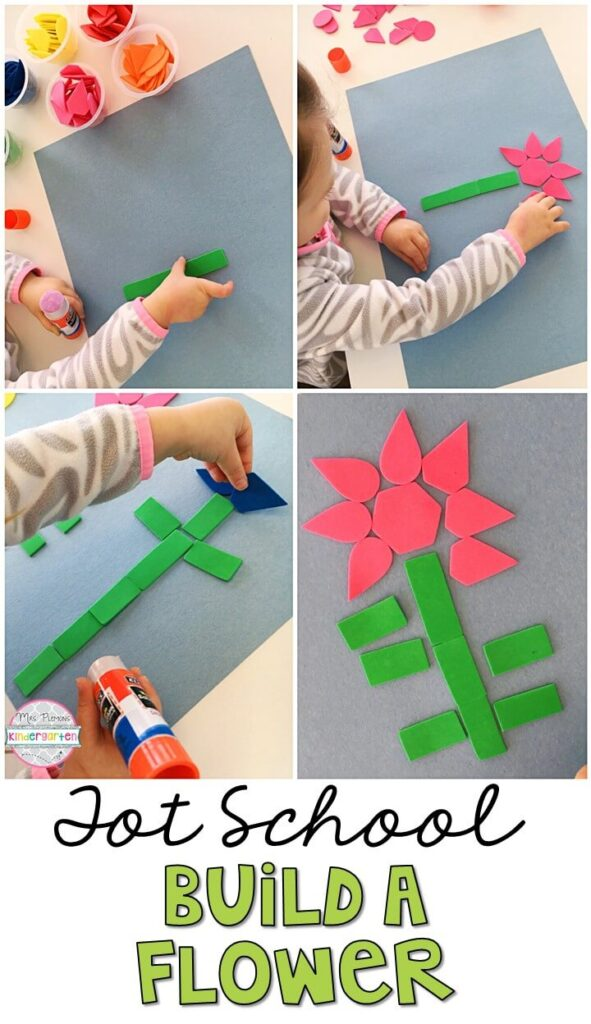 This build a flower project turned out so cute and incorporated lots of fine motor practice. Great for a plant theme in tot school, preschool, or even kindergarten!