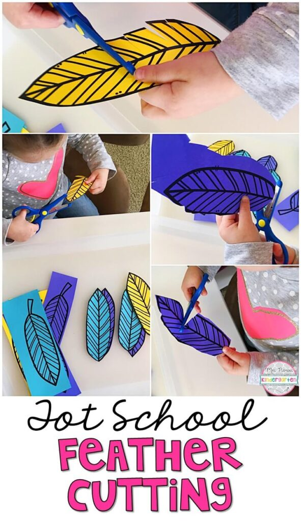 This feather cutting tray incorporates lots of fine motor practice. Great for spring in tot school, preschool, or even kindergarten!