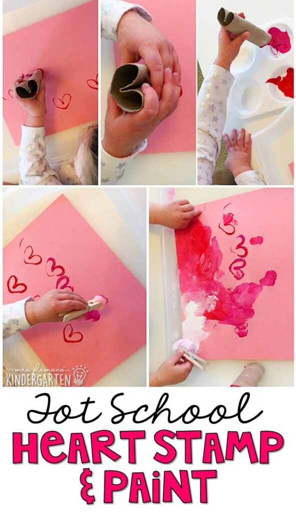 This heart stamp and paint project was fun and incorporated lots of fine motor practice. Great for valentine's day tot school, preschool, or even kindergarten!