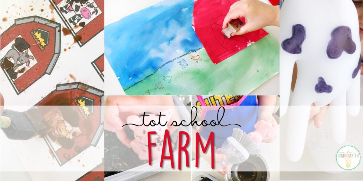Tons of farm themed activities and ideas. Weekly plan includes books, literacy, math, science, art, sensory bins, and more! Perfect for tot school, preschool, or kindergarten.