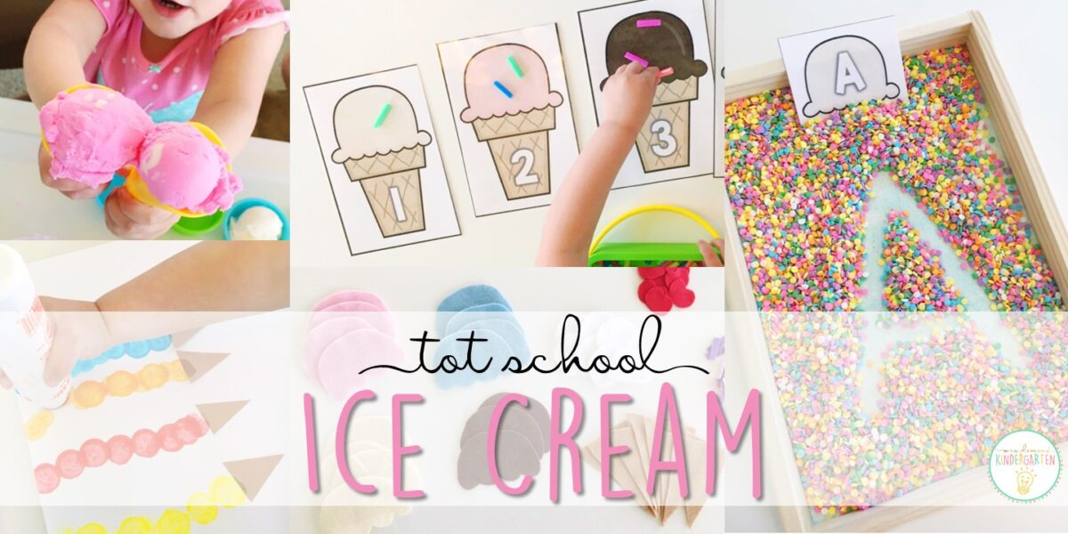 Tons of ice cream themed activities and ideas. Weekly plan includes books, literacy, math, science, art, sensory bins, and more! Perfect for tot school, preschool, or kindergarten.