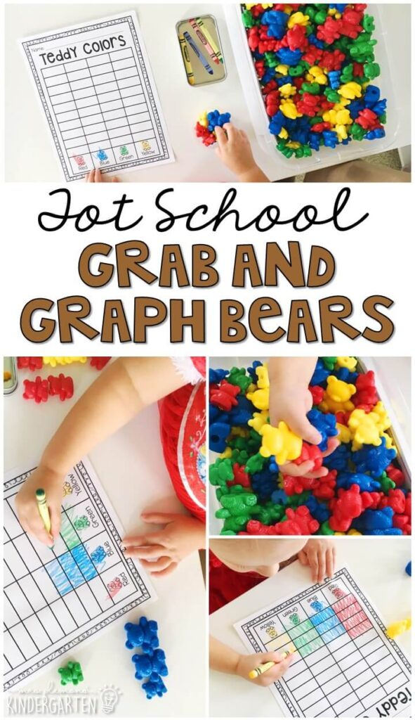 Work on sorting with this grab and graph bear activity. Perfect for introducing graphing skills to little ones while working on fine motor skills. Great for a bear theme in tot school, preschool, or even kindergarten!