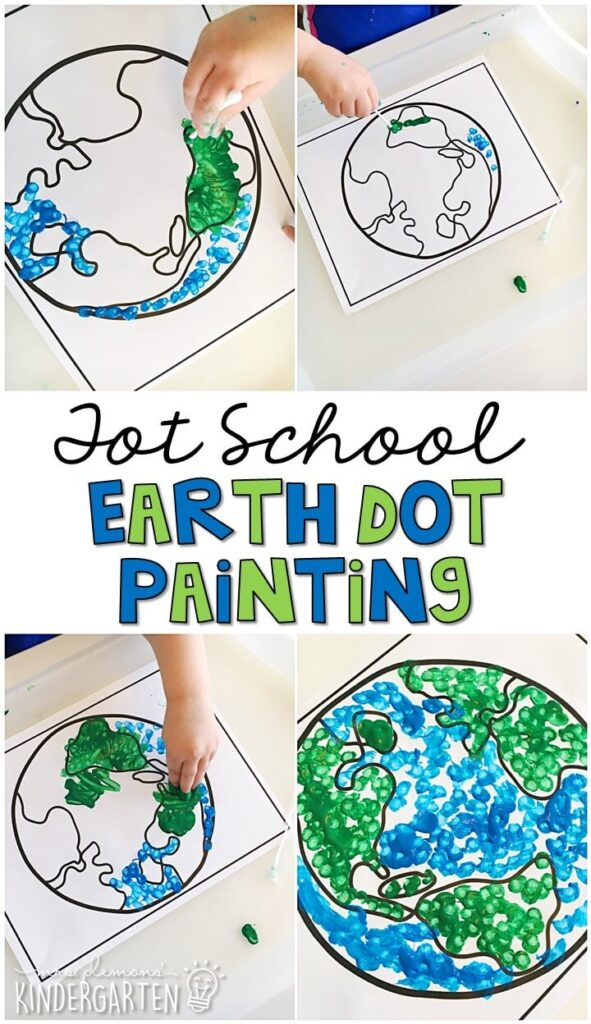 This dot paint earth was such a fun and calming way to get our fine motor practice in with an Earth Day theme. Great for tot school, preschool, or even kindergarten!