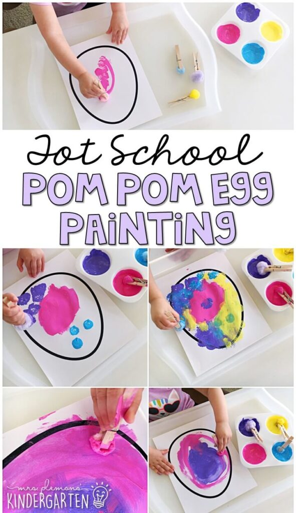 This pom pom egg painting activity was such a fun way to get our fine motor practice in with an Easter theme. Great for tot school, preschool, or even kindergarten!