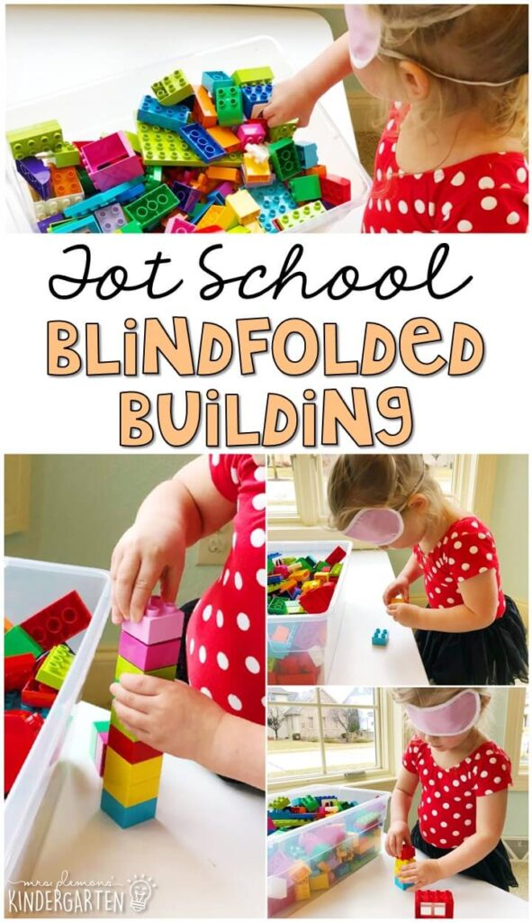This blindfolded building activity was a fun way to explore using just our sense of touch to build and we incorporated lots of fine motor practice. Great for a five senses theme in tot school, preschool, or even kindergarten!
