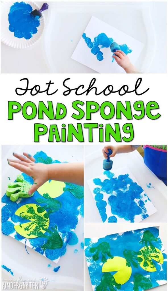 This sponge paint pond craft turned out so cute and incorporated lots of fine motor practice. Great for a frog theme in tot school, preschool, or even kindergarten!