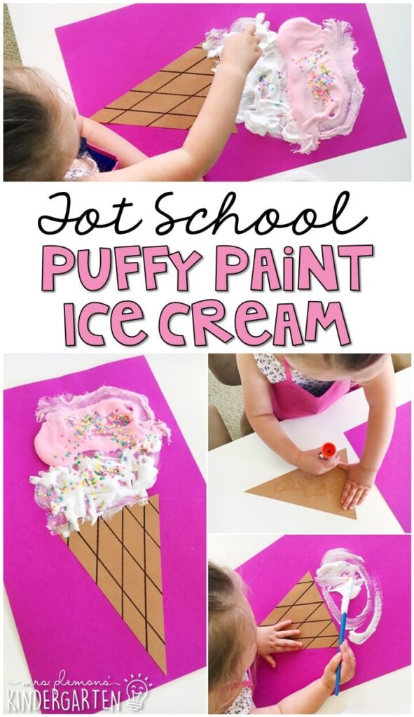 This puffy paint ice cream craft turned out so cute and incorporated lots of fine motor practice. Great for an ice cream theme in tot school, preschool, or even kindergarten!