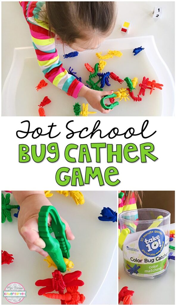 This bug catcher game was such a fun way to get our fine motor practice in with an insect theme. Great for tot school, preschool, or even kindergarten!