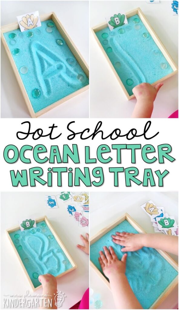 This ocean letter writing tray was a great fine motor activity and fun way to work on letter recognition and writing. Great for tot school, preschool, or even kindergarten!
