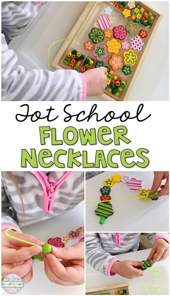 These flower necklaces were a fun way to get our fine motor practice in with a plant theme. Great for tot school, preschool, or even kindergarten!