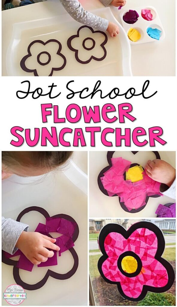 We LOVE sun catcher crafts for fine motor practice so this flower suncatcher fit in perfect with our spring theme. Great for tot school, preschool, or even kindergarten!