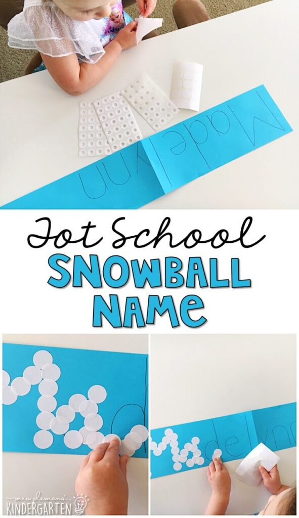 These snowball names turned out so cute and incorporated lots of fine motor practice. Great for a winter theme in tot school, preschool, or even kindergarten!