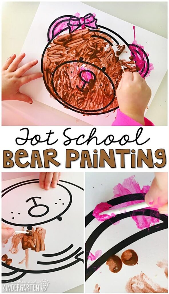 We had so much fun making these bear paintings for our bear theme. Great for tot school, preschool, or even kindergarten!