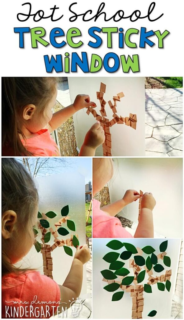We LOVE sticky window activities for fine motor practice so this tree sticky window activity fit in perfect with our Earth Day theme. Great for tot school, preschool, or even kindergarten!