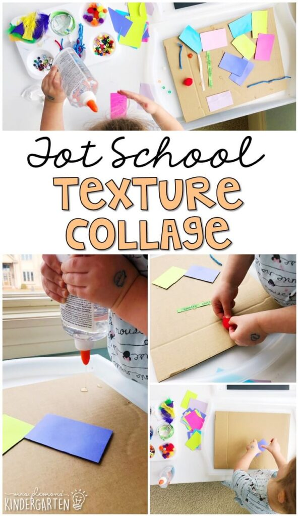 We had so much fun making these texture collages for our five senses theme. Great for tot school, preschool, or even kindergarten!