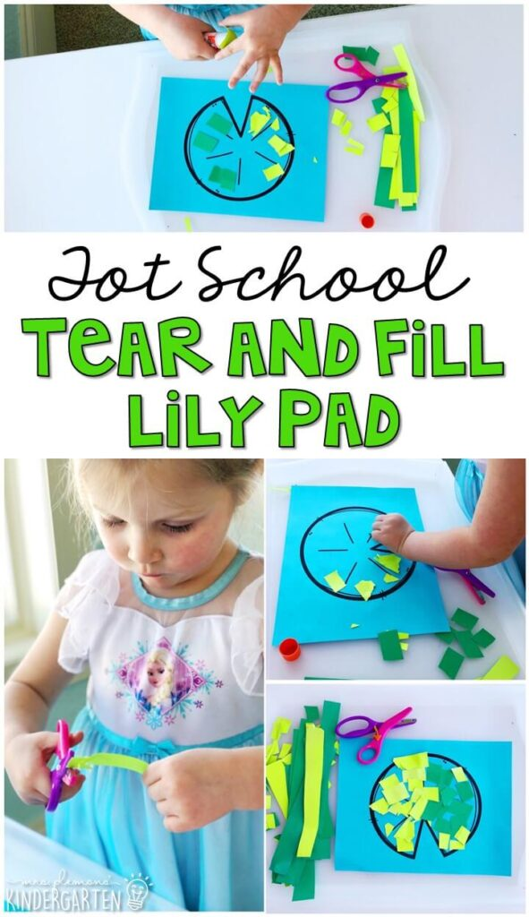 We had so much fun making these tear and fill lily pads for our frog theme. Great for tot school, preschool, or even kindergarten!
