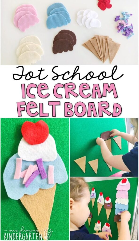 This ice cream felt board was really easy to make and so much fun to pretend and play with. Perfect fine motor activity for our ice cream theme. Great for tot school, preschool, or even kindergarten!