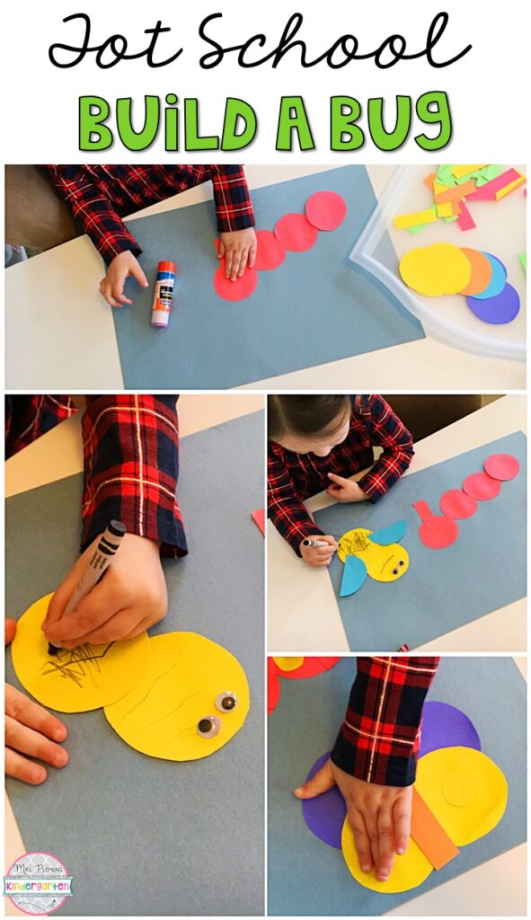 This build a bug craft was a fun open ended project for our insect theme. The perfect way to get creative and build fine motor skills with an insect theme. Great for tot school, preschool, or even kindergarten!