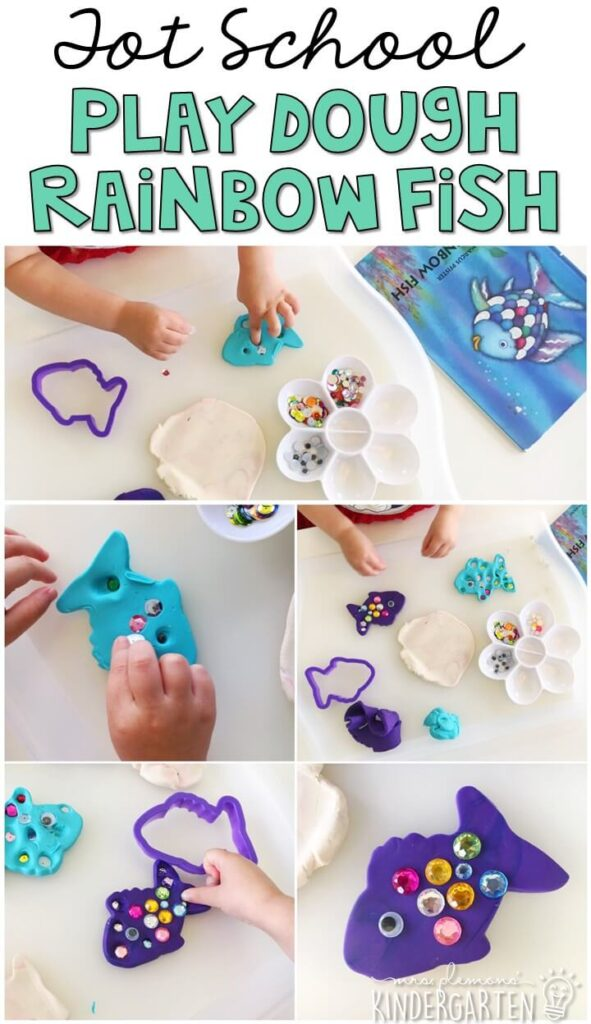 We had so much fun making play dough rainbow fish for fine motor practice. Great for an ocean theme in tot school, preschool, or even kindergarten!