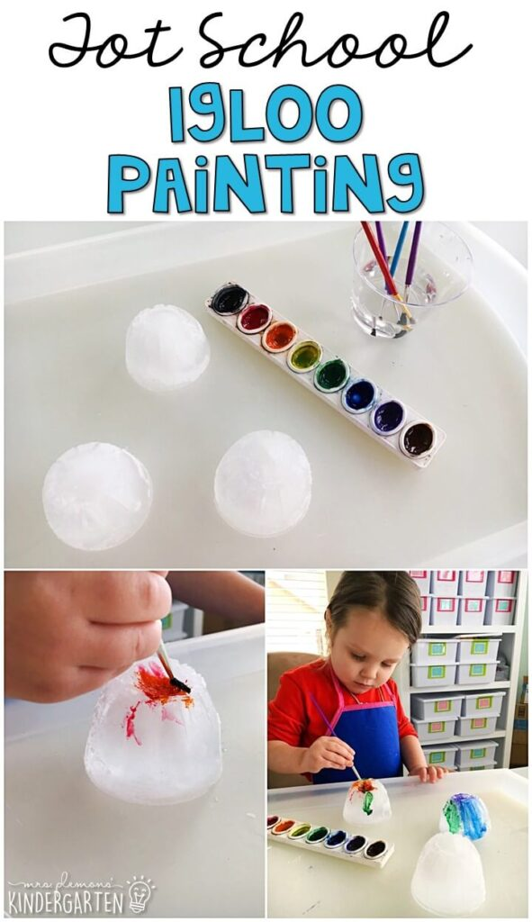These penguin paintings turned out so cute and incorporated lots of fine motor practice. Great for winter in tot school, preschool, or even kindergarten!