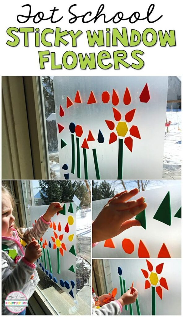 We had so much fun making these sticky window flowers for our plant theme. Great for tot school, preschool, or even kindergarten!