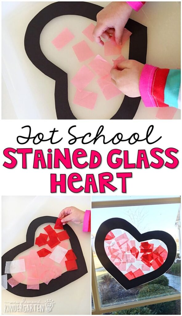 We had so much fun making these stained glass hearts for our valentine's theme. Great for tot school, preschool, or even kindergarten!