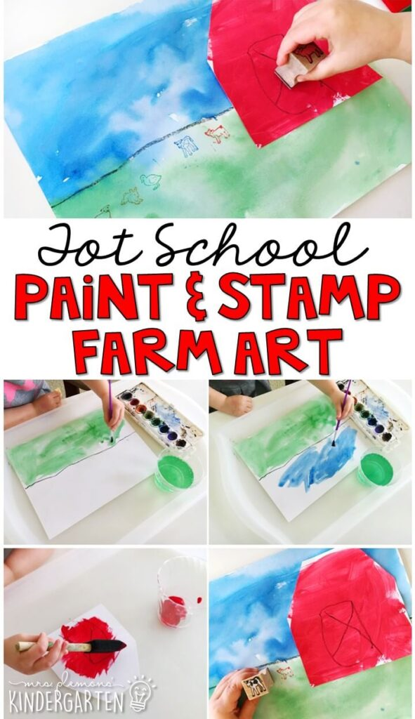 This paint and stamp farm activity turned out so cute and incorporated lots of fine motor practice. Great for a farm theme in tot school, preschool, or even kindergarten!