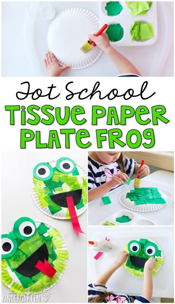 Making tissue paper plate frogs was an easy and adorable craft for our frog theme. Great for tot school, preschool, or even kindergarten!